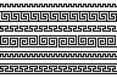 Motif répété par frette grecque méandre Dirigez la configuration sans joint Fond noir et blanc simple Formes géométriques peintur illustration libre de droits