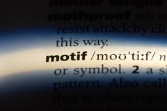Motif. Word in a dictionary.  concept royalty free stock image