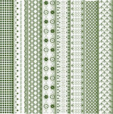 Motifs colored - patterns various. Embroidery in various shades of green Stock Photo
