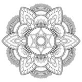 Motifs de mandala de fleur Éléments décoratifs de cru Modèle oriental, illustration de vecteur Page de livre de coloriage Photos stock