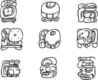 Motifs de Mexicain, d'Aztèque ou de Maya, glyphs Photos libres de droits