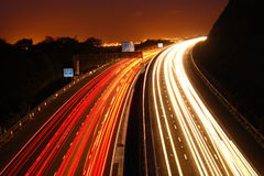 In Motion. A long exposure of the M5 motorway at night Stock Photos