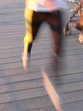 Motion. Man's legs blurred while running, motion style symbolizing sport and fitness Stock Photo