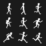 Motion activity figure icons. Human actions like walking and running, jumping and movement vector signs Royalty Free Stock Photo