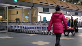Motion of airport workers moving stacks of luggage carts inside YVR airport stock video footage