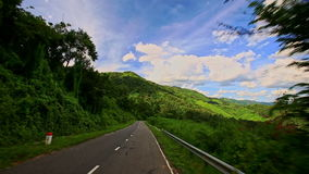 Motion along Curvy Country Road between Green Plant Landscape stock video footage
