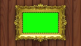 Camera moves along gold picture frames on brown wood background. Seamless looped 3d animation. Mockup with tv noise and. Motion along gold picture frames on stock video footage