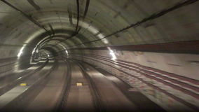 Motion along the rails. In the subway tunnel stock video