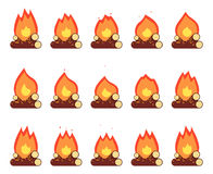 Motion Animation Flame Burn Night Camp Campfire Game Element Isolated Frames Set Flat Design Vector Illustration Stock Photos