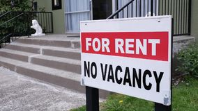Motion of apartment for rent sign. In front of building in Burnaby BC Canada