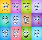 Émotion aux yeux bleus sur coloré Image libre de droits
