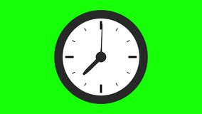 Real time Clock animation. Motion background with spinning clock in 12 hour seamless loop stock video