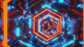 Abstract background motion video of a specular gem moving in the center of hexagon tunnel of bright blue and red neon. Motion background video of a specular gem stock video