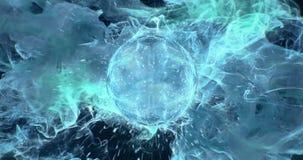 Motion Background VJ Loop - Cyan Greenish Blue Lens Sphere Particles 4k stock video