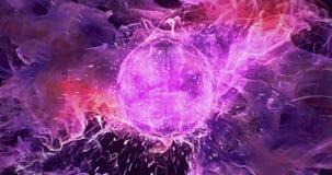 Motion Background VJ Loop - Dark Purple Orange Lens Sphere Particles 4k stock video footage