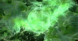 Motion Background VJ Loop - Green Acid Poison Lens Sphere Particles 4k stock video