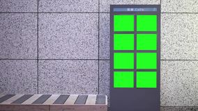 Motion of big green screen billboard beside chair. Inside shopping mall stock video footage