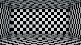 Motion of Black and white checkered  tile room background.