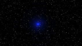 Motion of blue glowing star on a stellar backgrounds stock video footage