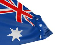 Motion Blur 3D Australian flag. 3D Australian flag with fabric surface texture. White background Royalty Free Stock Photography