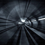 Motion Blur Abstract - in an underground tunnel heading towards a light. Black and white. Stock Photography