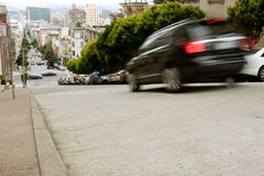 Motion Blur Of Car Braking On Steep San Francisco Street Royalty Free Stock Images