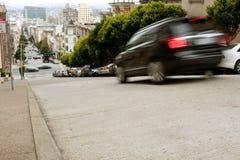 Motion Blur Of Car Braking On Steep San Francisco Street Royalty Free Stock Images
