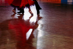 couple dancers in a dance spotlight on the floor royalty free stock photography