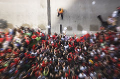 Motion Blur of a Crowd of Fans Cheering During a Parade Celebrating the Chicago Blackhawks' Stanley Cup Victory - June 11, 2010. Crowd of Fans Cheering During a royalty free stock images