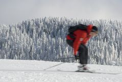 Motion blur of downhill skier Stock Photography