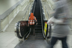 Motion Blur on Escalator Stock Photography