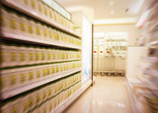 Motion blur focused of supermarket. Royalty Free Stock Photography
