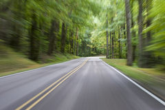 Motion Blur Forest Road Stock Photography
