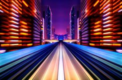 Motion blur future vehicle moving in city road or rail. royalty free stock photography