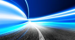 Motion blur in futuristic tunnel. Driving at high speed in futuristic tunnel - motion blur vector illustration