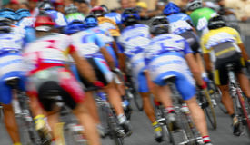 Motion blur a group of cyclists Royalty Free Stock Image