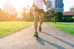 Motion blur of marathon man runner in beautiful urban running track Stock Photography