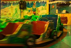 Motion blur by a merry-go-round. royalty free stock photo