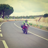 Motion Blur. Motorcycle Motion Blur on the Winding Asphalt Road in Sicily, Instagram Effect stock photo