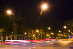 Motion blur of night street Royalty Free Stock Photography