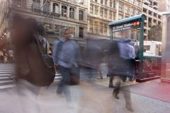 Motion blur people in new york city streets subway with urban bu stock photo