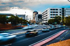 Motion blur Photo of cars coming into Tuscon, Arizona. royalty free stock images
