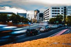 Motion blur Photo of cars coming into Tuscon, Arizona. royalty free stock photos