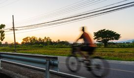 A motion blur picture of a man riding bicycle on the street with greenery and yellow rice field and electric pole during sunset. The street with greenery and stock images