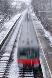 Motion blur of a red train Royalty Free Stock Images
