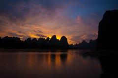 Motion Blur River Karst Sunset Stock Images