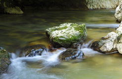 Motion blur river with rocks Royalty Free Stock Photography