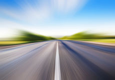 Motion blur on road Stock Photo