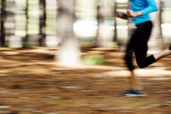 Motion blur runner. Action motion shot of runner training in forest with blur to show speed and sprinting royalty free stock photography