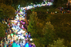 Motion Blur Shows Hundreds Of Colorful Lanterns In Atlanta Parade Royalty Free Stock Image